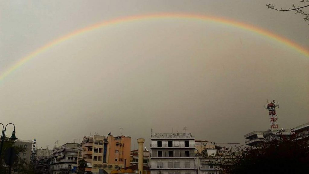 FB IMG 1491576679338 1024x576 - Λάρισα: Μετά τη βροχή ήρθε το ουράνιο τόξο!
