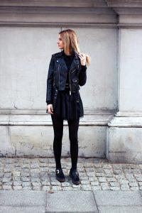 black-dress-zara-leather-jacket-blonde-tumblr-girl-look-lookbook-what-to-wear