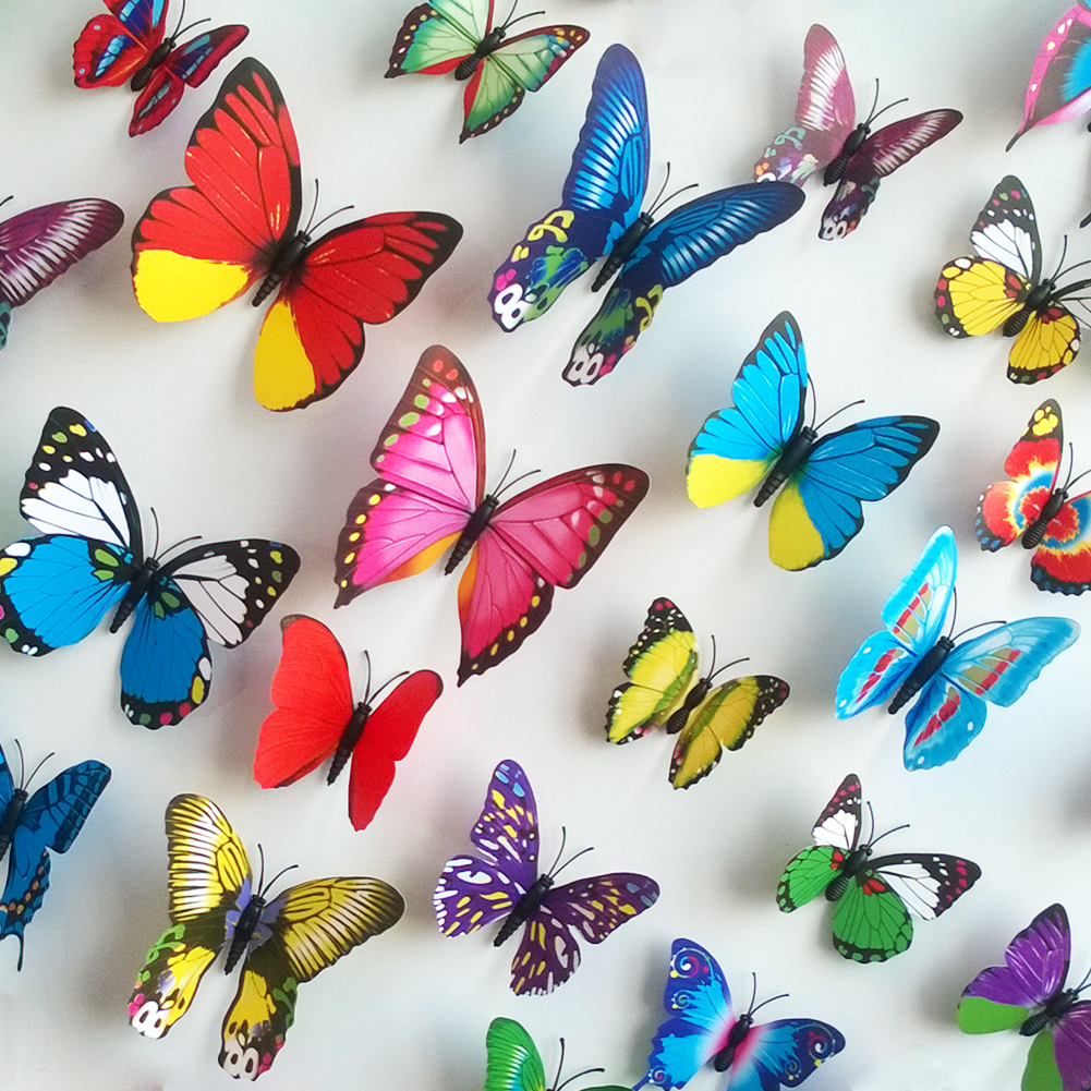 Ional pegatinas de pared de color simulación 3D mariposa decorado salón TV fondo de la pared - «Εγκατάσταση με πεταλούδες» στο ποτάμι