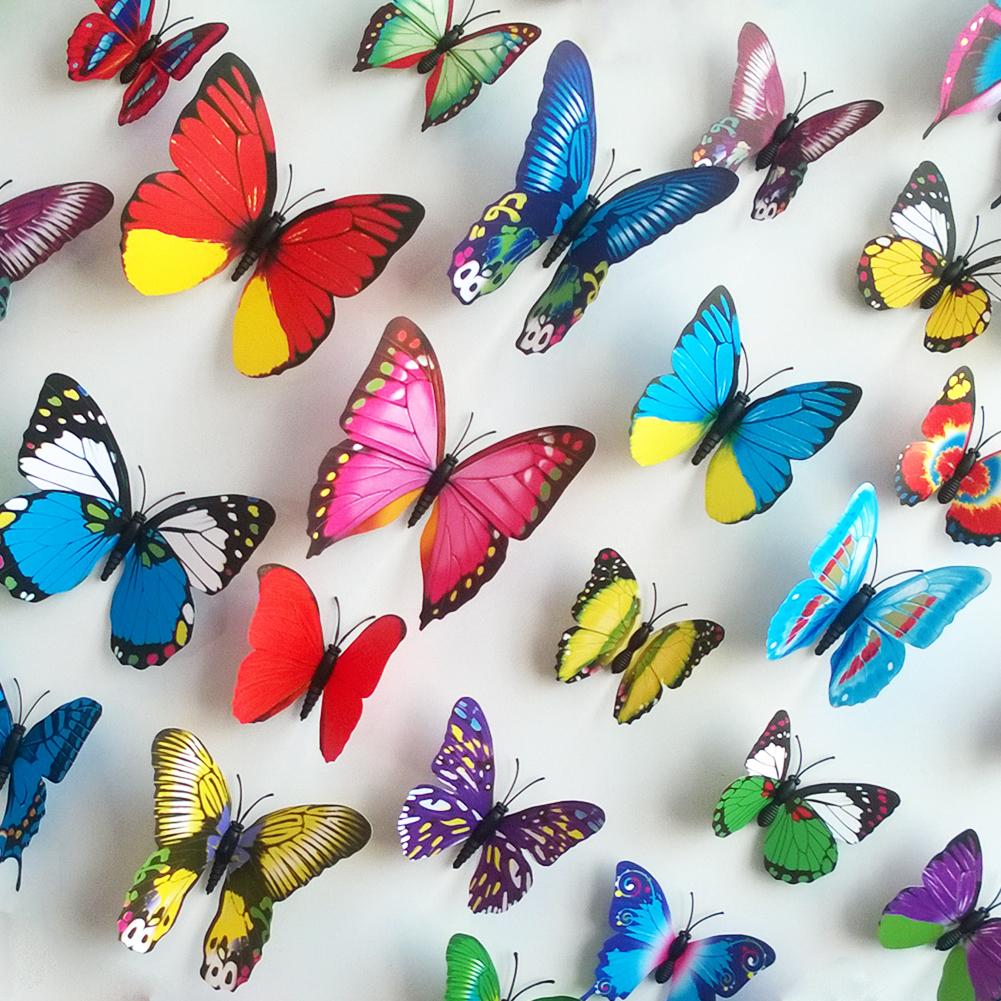 Ional pegatinas de pared de color simulación 3D mariposa decorado salón TV fondo de la pared - «Εγκατάσταση με πεταλούδες» στο ποτάμι