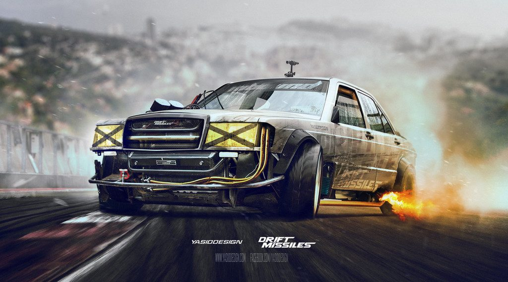 drift missile mercedes w201 by yasiddesign d8y816k 1024x568 - Αυτό το Nissan θα το οδηγούσε ο Mad Max μετά χαράς