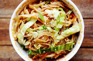 onion cabbage carrot rice noodles stir fry recipe 001